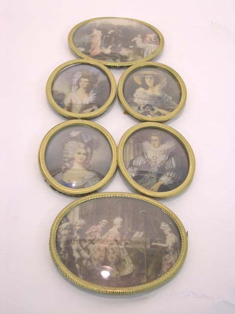 9: 4 Miniature Portraits of Beautiful French Women & 2