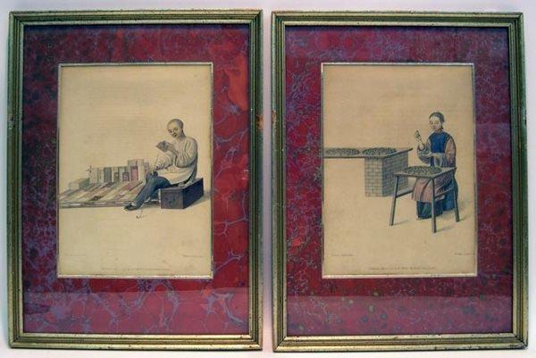 "10: 18C Prints ""China Trade"" Hand Colored Stipple-Engra"