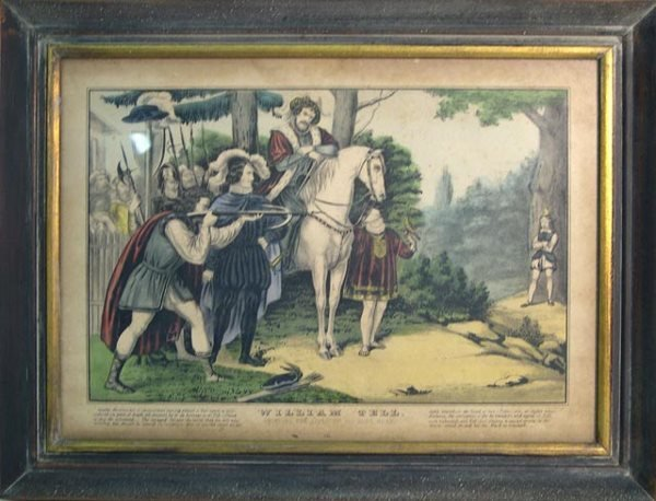 """11: Antique Hand Colored Print """"William Tell, Shooting"""