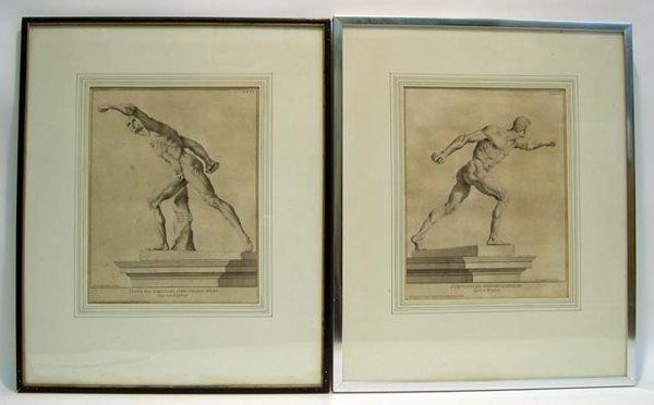 13: Antique Roman Nude Male Athlete Engravings. Plate #