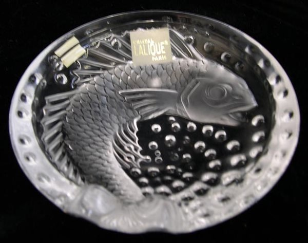 16: Lalique France Crystal Koi Fish Cigar Tray Brand Ne