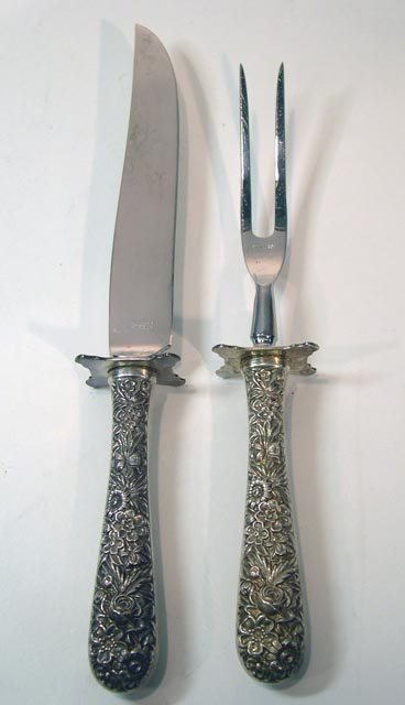"""19: S. Kirk and Son 2Pc """"Repousse"""" Sterling Silver Carv"""