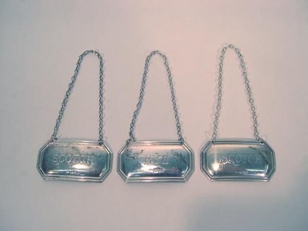 23: 3 Sterling Silver Hallmarked Liquor Bottle Labels.