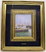 63: Harbor Scene Signed F. Del Basso Oil on Masonite Sh
