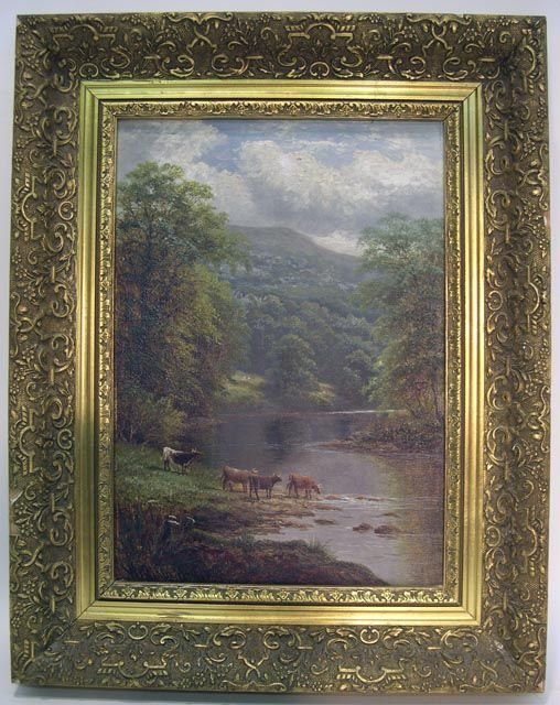 """132: William Mellor British (1851-1931) O/C """"Oxen Drink"""