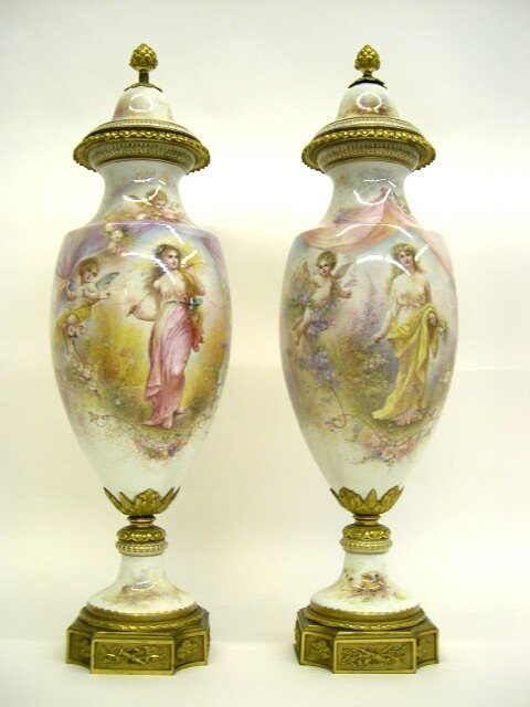 262: Magnificent Pair 19C Sevres Covered Urns w/ Bronze