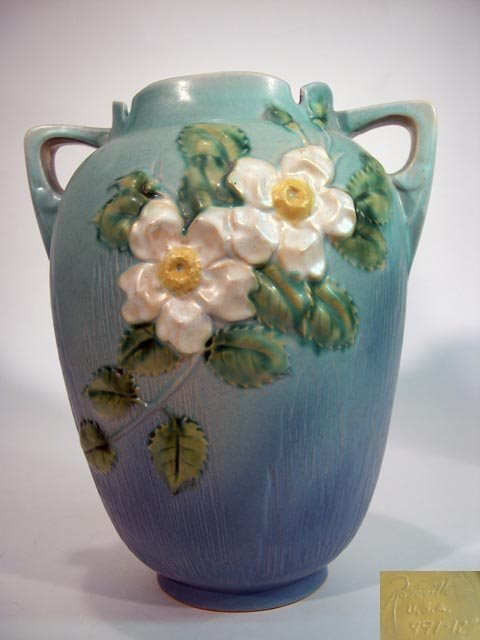 "1005: Large Roseville """"White Rose"""" Vase. Signed Under"