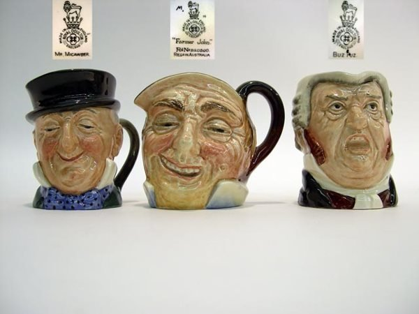 1006: 3 Early Royal Doulton Toby Jug Farmer John Mr. Mi