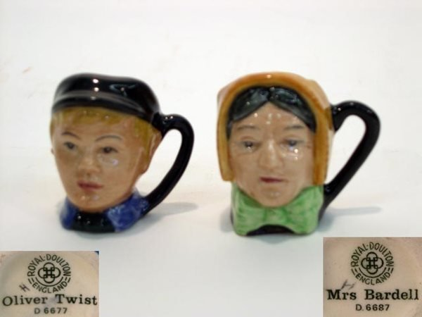 1008: Two (2) Miniature Royal Doulton Toby Mug Oliver T