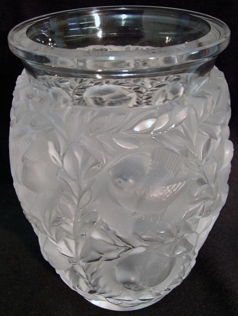 1157: Lalique France Crystal Bird Vase. Signed Lalique