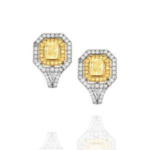 GIA Fancy Yellow Diamond Earrings