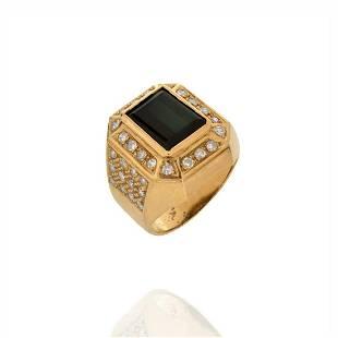 Onyx, Diamond and 18K Ring