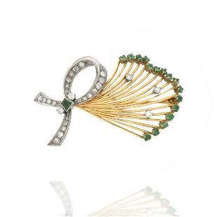 Diamond, Emerald and 18K Brooch