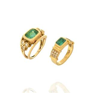 Two Emerald, Diamond and 18K Rings