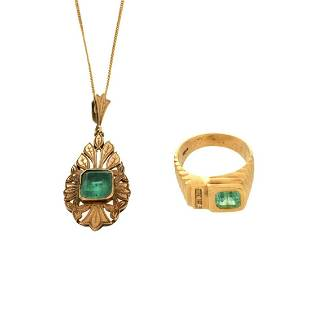 Emerald Ring and Pendant Necklace