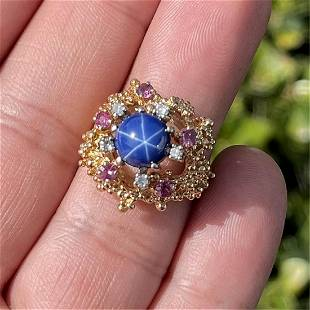 Sapphire, Diamond, and 14K Ring