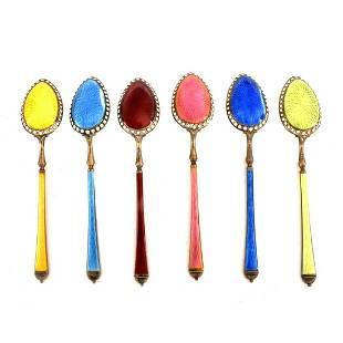Enamel Sterling Demitasse Spoons
