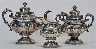 259 B Gardiner NY 3pc Coin Silver Tea Sv w Ivory Ins