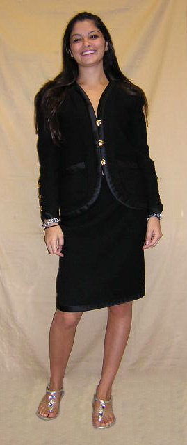 516: Adolpho Ladies Two (2) Piece Black Skirt Suit with
