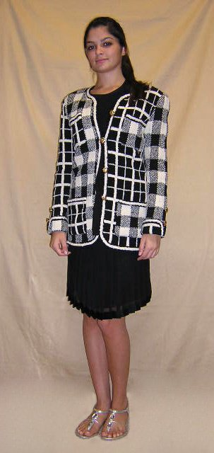 518: Adolpho Ladies Three (3) Piece Plaid Heavy Knit Wi