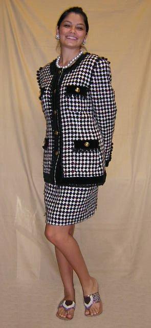 520: Escada Ladies Two (2) Piece Plaid Skirt Suit Size