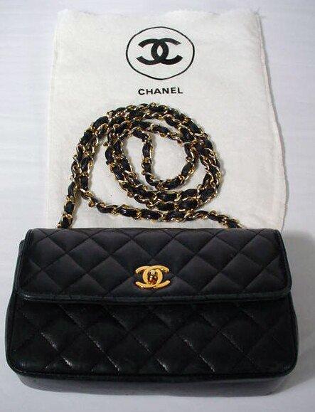 524: Chanel Navy Blue Hand Bag with Shoulder Strap. Sig