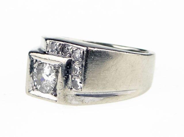 6: Man's Vintage Fourteen Karat White Gold and Diamond