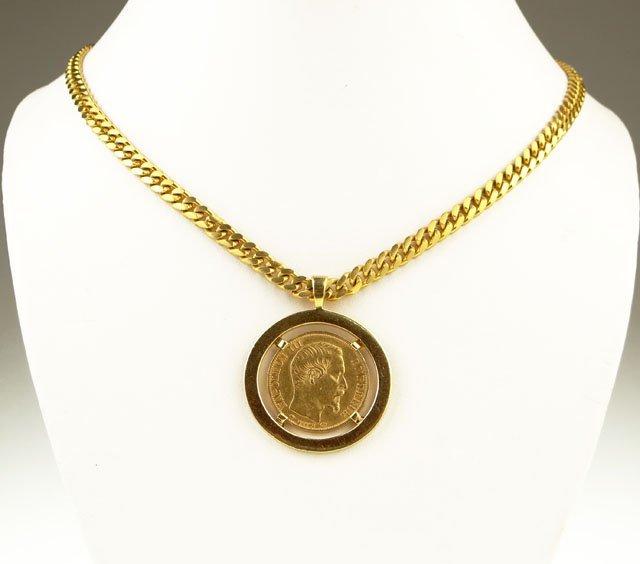 7: Vintage Eighteen Karat Yellow Gold Pendant and Neckl