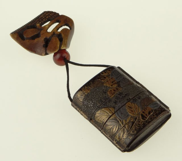 14: 19th Century Japanese Stippled Lacquer Inro with Gi