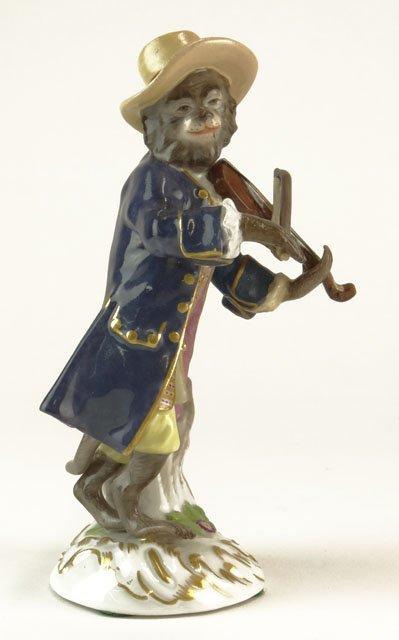 22: Antique Meissen Germany Porcelain Figural Monkey Ba