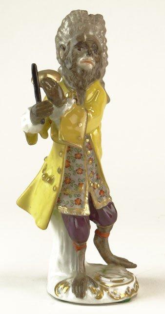 24: Antique Meissen Germany Porcelain Figural Monkey Ba
