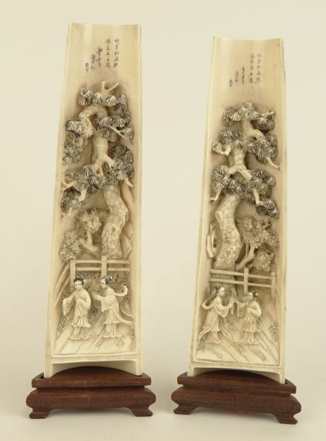 231: Pair of Antique Chinese Carved Ivory Wrist Rests E