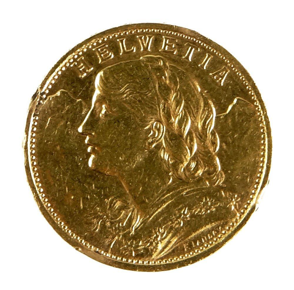 1922 Swiss 20 Franc Helvetia Gold Coin. Previously Moun