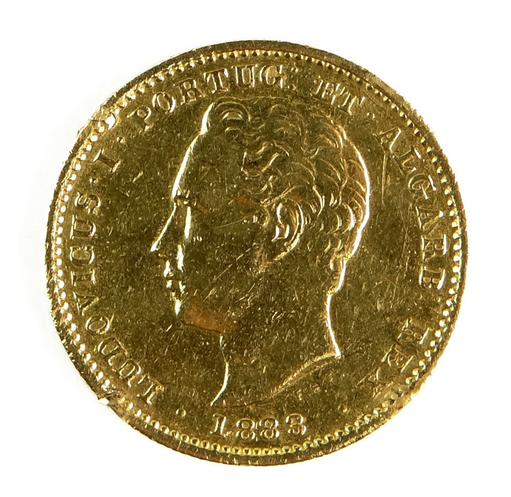 1883 Portugal Luiz I 5000 Reis Gold Coin. Previously Mo
