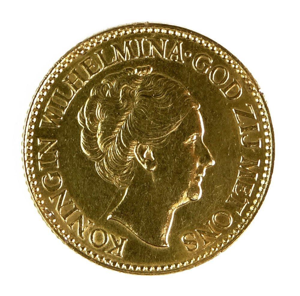 1933 Wilhelmina 10 Gulden Netherlands Gold Coin. Previo