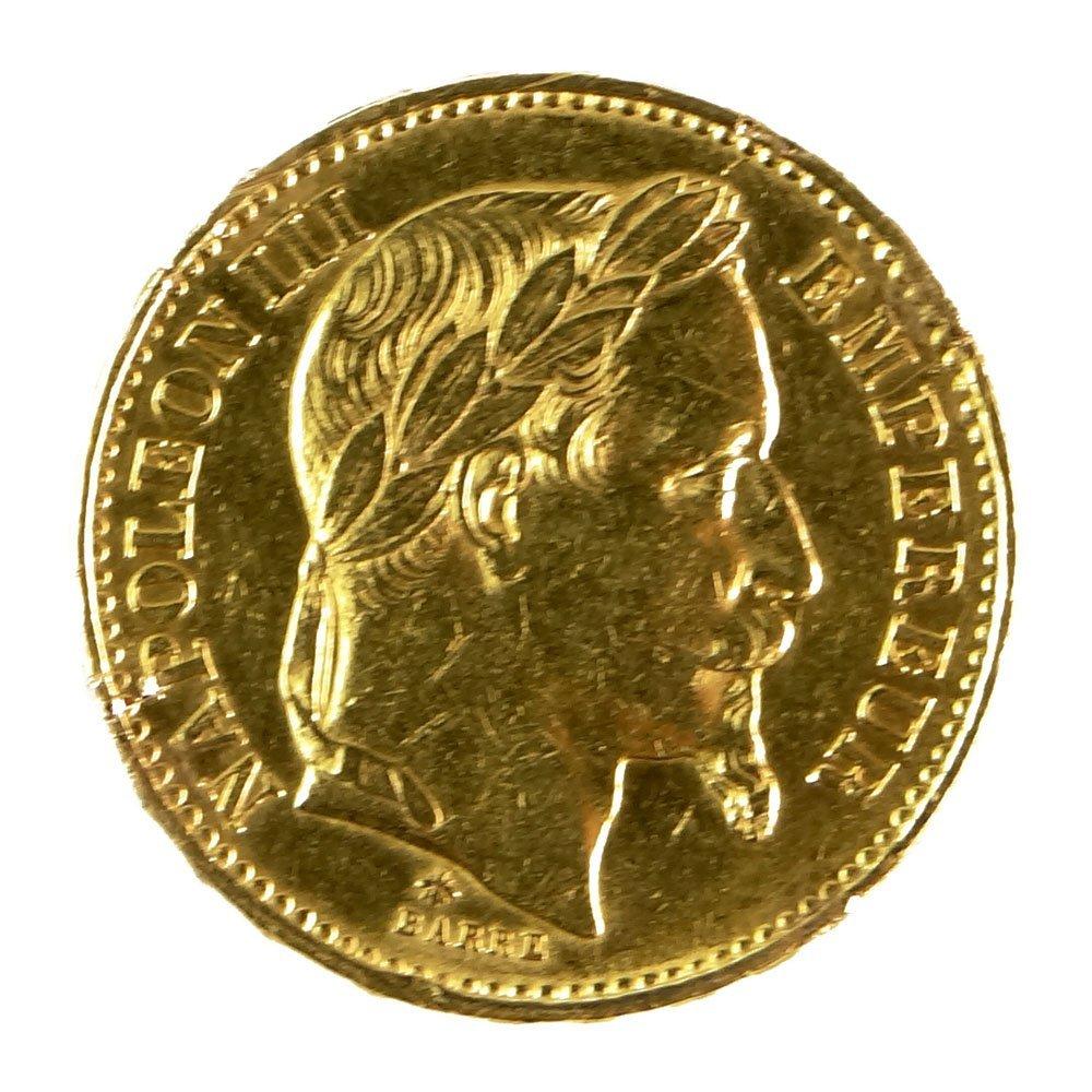 1870 French 20 Franc Emperor Napoleon III Laureate Head