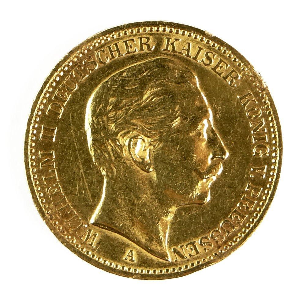 1896 German Wilhelm II 20 Mark Prussia Gold Coin Deutsc