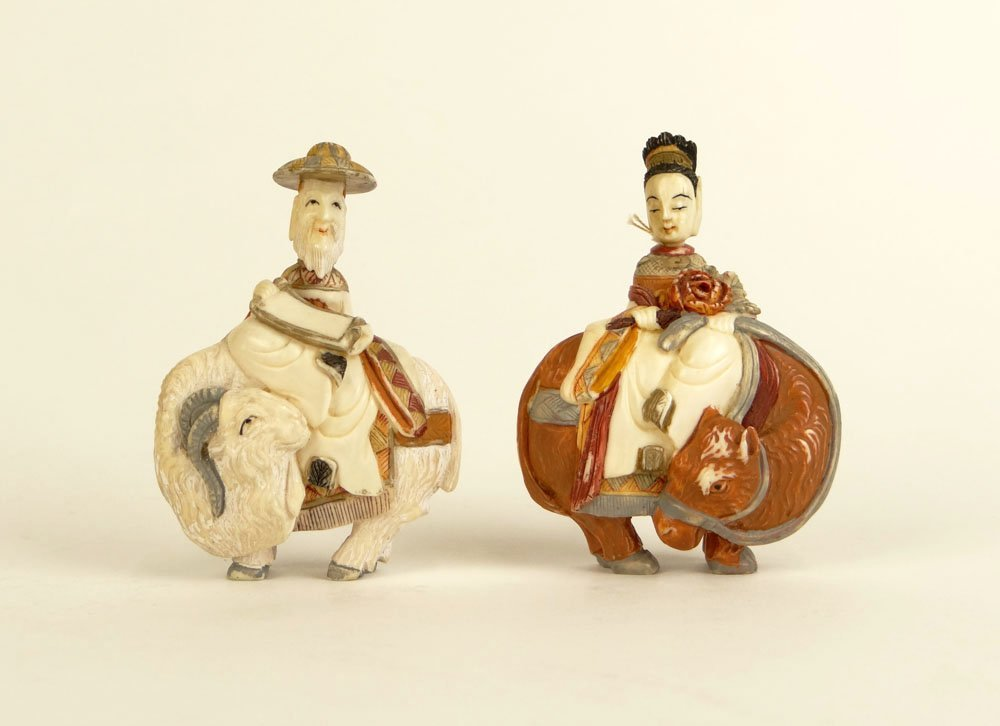 Matched Pair of 20th Century Carved and Painted Peking