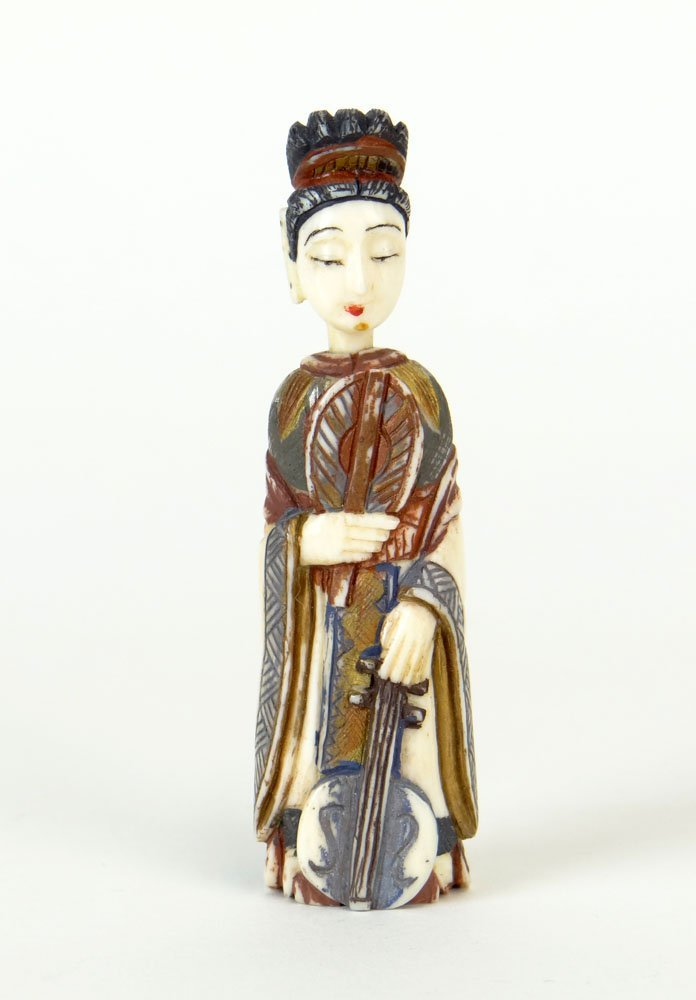 20th Century Carved and Painted Peking Ivory Snuff Bott