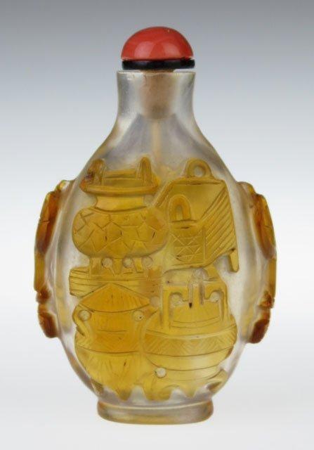 18/19th Century Chinese Peking Glass Amber Overlay Snuf