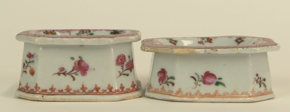 Pair of 18th Century Chinese Export Famille Rose Porcel