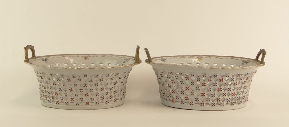 Pair of 18th Century Chinese Export Porcelain Openwork