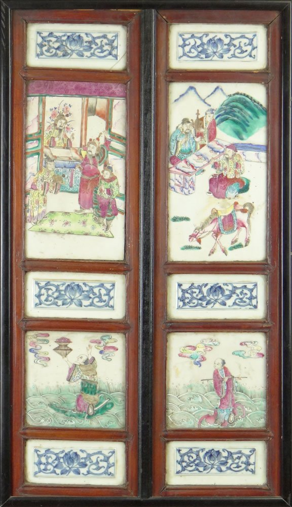 19/20th Century Chinese Porcelain Panel with Ten (10) M