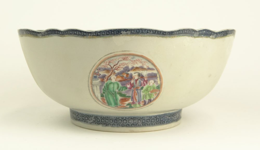 Large 18th Century Chinese Export Porcelain Bowl. Unsig
