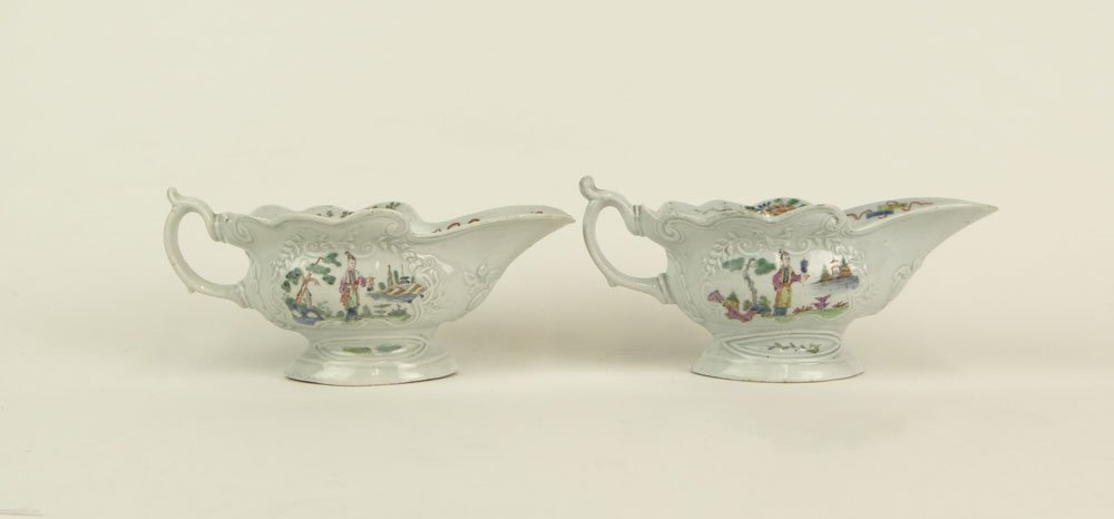 Pair of 18th Century Worcester England Chinese Style Po