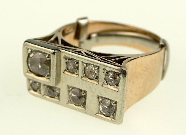Diamond and 14 Karat Yellow and White Gold Ladies Ring.