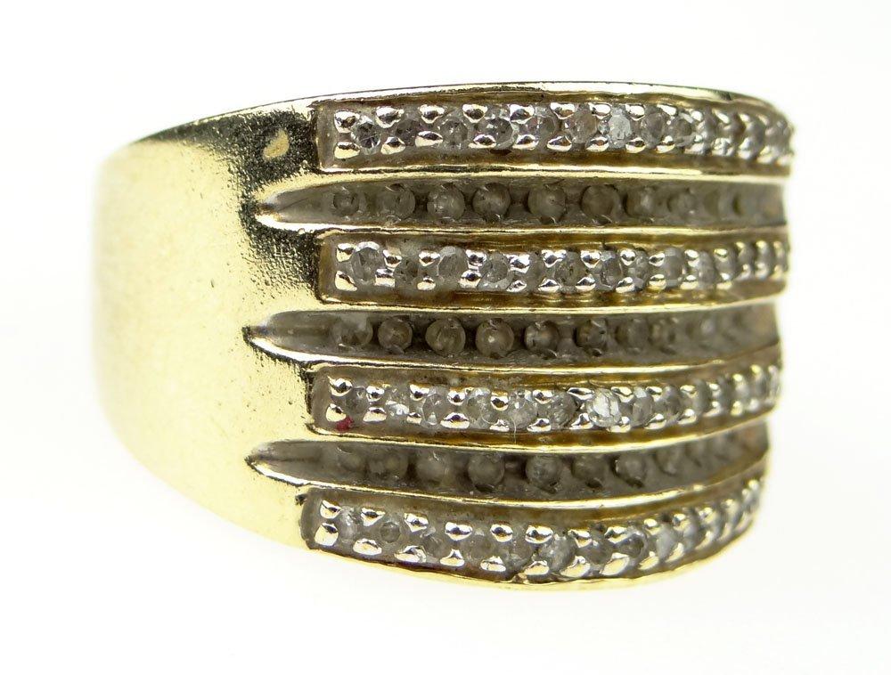 Mid Century 98 Diamond and 10 Karat Yellow Gold Lady's