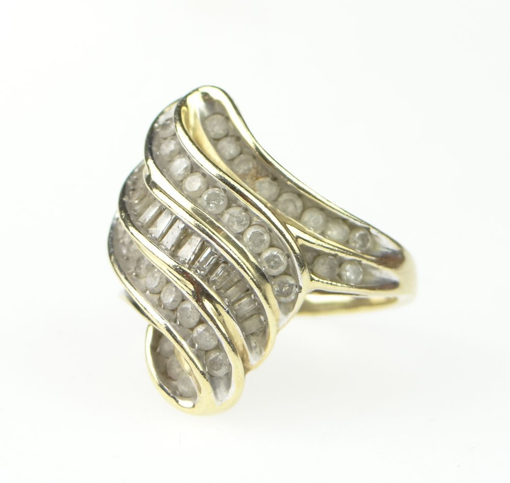 Vintage 42 Diamond and 10 Karat Yellow and White Gold L