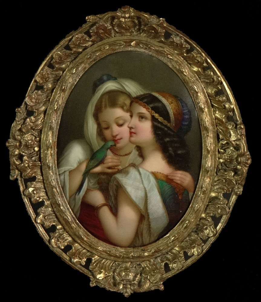"""19th Century German KPM Painted Oval Plaque, """"Two Young"""