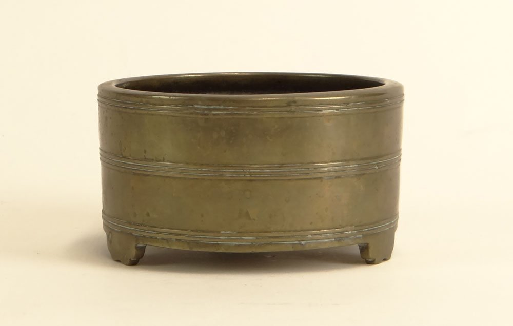 Antique Chinese Bronze Footed Mortar. Signed. Well Used